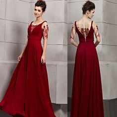 Burgundy Short Sleeve Formal Engagement Ball Gown Evening Dresses SKU-122706