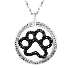 #Valentines #AdoreWe #Zales - #Zales Aspca® Tender Voices® 1/5 CT. T.w. Enhanced Black Diamond Paw Print Pendant in Sterling Silver - AdoreWe.com