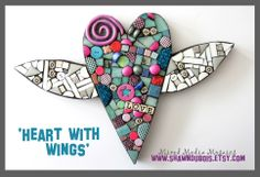heart with wings.   winged heart mosaic. mosaic art. mixed media mosaic. wedding gift.