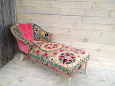 I have a chaise...wonder if I could do something like this to it??  Peachy Pink Suzani Chaise. $1,350.00, via Etsy.