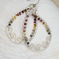 Silver Scrolls and MultiSapphire Teardrop hoops  by CherishedBijou, $108.00