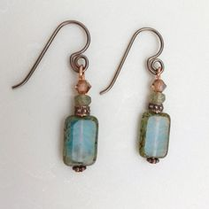 A Life AQUATIC Czech Glass Bead earrings.  Blue bronze Swarovski crystal and Copper accents