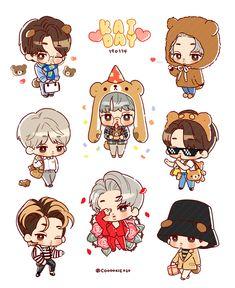 됴🍑 (@maytpr_) | Twitter Jongin Exo Stickers, Cute Stickers, Bts Chibi, Anime Chibi, Baekhyun Fanart, Chanyeol, Exo Cartoon, Exo Anime, Kawaii Doodles