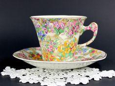 James Kent Fenton Teacup, Crazy Paving Chintz, Tea Cup and Saucer, Made in England 12587