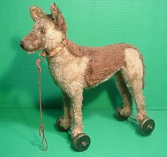 C 1920's Antique Steiff Mohair German Shepherd Dog Old Pull Toy on Wheels | eBay