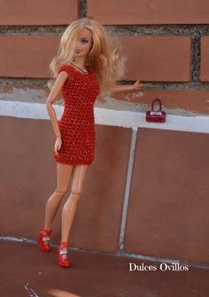Dulces Ovillos: Vestido a crochet para Barbie - Barbie crochet dress
