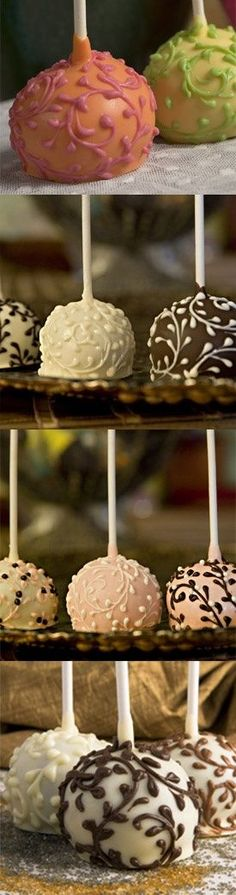 Fancy Cake Pops - perhaps for a sweet touch cocktail hour. Pretty Cakes, Beautiful Cakes, Amazing Cakes, Simply Beautiful, Mini Cakes, Cupcake Cakes, Just Desserts, Delicious Desserts, Yummy Treats