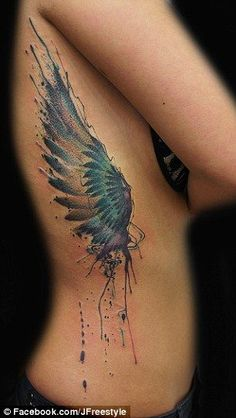 awsome, colour, idea, loveit, ribcage, side, tattoo, wing - image ...