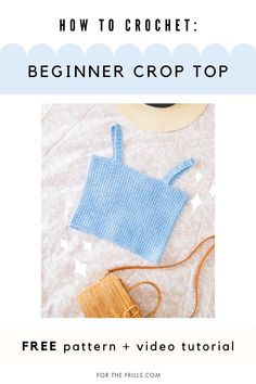 Easy Crochet Crop Top for beginners – free pattern & video tutorial - Looking for a new hobby or are you a crochet beginner? Learn how to crochet a crop top with this st - Crochet Bandeau Tops, Crochet Tank Tops, Crochet Summer Tops, Débardeurs Au Crochet, Crochet Video, Free Crochet, Beginner Crochet Projects, Crochet Patterns For Beginners, Sewing Projects