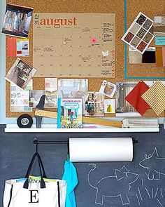 In the Home Office-cork board for organization, permission slips to sign. Wall Storage Systems, Storage Ideas, Smart Home Control, Narrow Shelves, Family Command Center, Organizing Your Home, Organizing Tips, Office Organization, Better Homes And Gardens