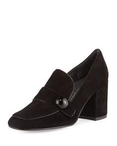 Dundee Suede Loafer Pump, Black, Women's, Size: 9.5B/39.5EU - Stuart Weitzman
