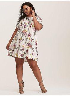 51883639591d TORRID : Ivory Floral Challis Trapeze Dress Challis Fabric, Vacation Dresses,  Plus Size Dresses