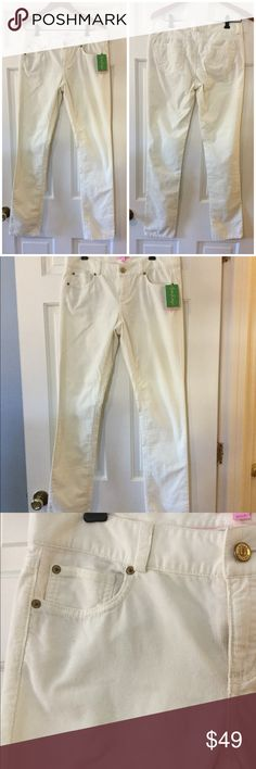 "🆕 Lilly Pulitzer winter white corduroy pants 100% cotton. Machine wash and dry.  Waist across 16"". Front rise 8"". Inseam 33"".  Brand new with tag.  Smoke free and pet free. Lilly Pulitzer Pants"