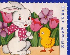 Vintage 1920s Happy Easter Bunny and Chick by poshtottydesignz