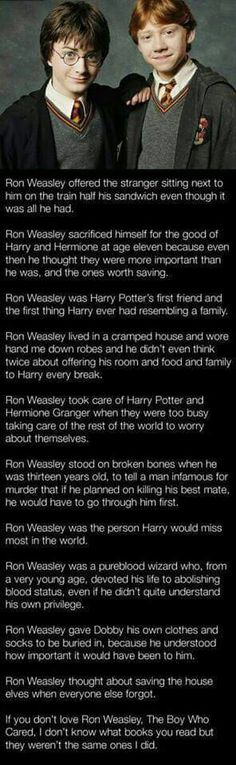 At first I didn't care much about ron but this has changed the way I think of him now