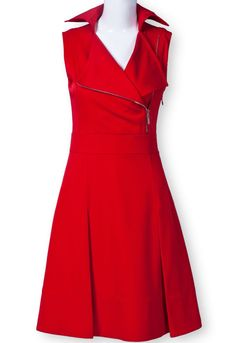 I think this Red Lapel Sleeveless Zipper Ruffles Dress has a vintage flair and I think this is cute.