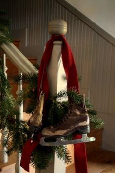 I am absolutely getting the old pair of skates from grandmas basement for next holiday season! Merry Christmas To All, Primitive Christmas, Country Christmas, All Things Christmas, Simple Christmas, Winter Christmas, Christmas Crafts, Christmas Decorations, Christmas Ideas
