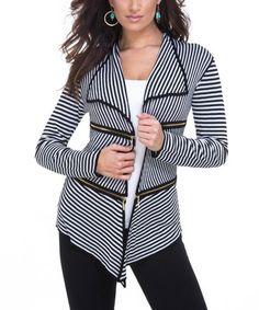 Look at this #zulilyfind! Black & White Stripe Zip-Accent Open Cardigan #zulilyfinds