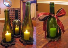 Make your own lanterns/hurricanes using empty wine bottles and used corks.
