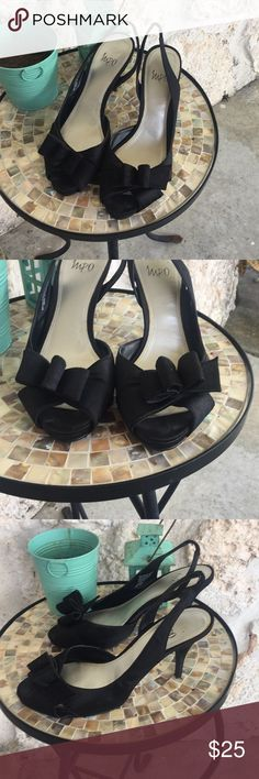 "Impo Black DeOrsy slingback heels Impo Black DeOrsy style slingback heels. Dressy taffeta material with lovely bow detailing across the toes.EUC heel height is 3""   ✅I ship same or next day ✅Bundle for discount Impo Shoes Heels"
