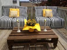DIY Pallet Patio Set, stack two-3 pallets high (screw them together) and 2 pallets wide, cover with Full size cushions, add a couple throw pillows and you have an instant patio set! Add caster wheels to the bottom of the pallets if you want to be able to move them around easily.