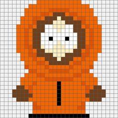 Cross Stitch South Park Kenny McCormick Hama Bead / Cross-stitch pattern - Four South Park Hama, Perler and Cross Stitch Designs. Cross Stitch Heart, Cross Stitch Fabric, Beaded Cross Stitch, Cross Stitching, Cross Stitch Embroidery, Embroidery Patterns, Embroidery Art, Cross Stitch Designs, Cross Stitch Patterns