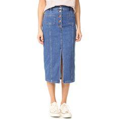 Madewell High Slit Jean Skirt ($90) ❤ liked on Polyvore featuring skirts, blue midi skirt, madewell skirt, high slit skirt, mid calf skirts and blue skirt