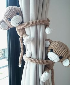 Monkey curtain tie back, cotton yarn crochet monkey, amigurumi. Monkey curtain tie back cotton yarn crochet monkey by thujashop Crochet With Cotton Yarn, Crochet Yarn, Crochet Toys, Crochet Amigurumi, Crochet Animals, Free Crochet, Baby Bedroom, Baby Boy Rooms, Baby Boy Nurseries
