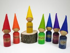 Set of 7 Days of the week Rainbow gnomes, Wool felt toy, wooden peg dolls, handmade children's toy,  Nature Table, Waldorf Toy,