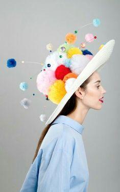 Orbiting pom pom hat by Harvy Santos Crazy Hat Day, Crazy Hats, Pom Pom Crafts, Diy Hat, Halloween Kostüm, Pom Pom Hat, Costume Design, Mardi Gras, Wearable Art