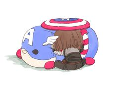 Bucky with a giant Captain America tsum-tsum