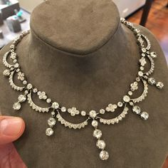 An Antique Diamond Swag Necklace, c.late 19th Century #ForSale #AntiqueJewels #FDGallery