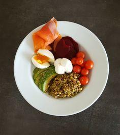 Buddha bowl - La cerise sur le maillot Bol Buddha, Bowl Cake, Mets, Cobb Salad, Breakfast, Mozzarella, Food, Cherry Tomatoes, Salads