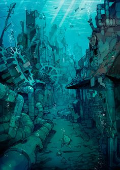52 Ideas For Steampunk Concept Art Scenery Fantasy Anime, Fantasy Kunst, Fantasy Art, Environment Concept, Environment Design, Fantasy Places, Fantasy World, Norman Rockwell, Anime Scenery