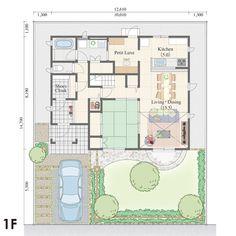 """43.58坪,南玄関,の三井ホーム株式会社が提供する間取りプラン。キッチンから洗面所を結ぶ回遊動線を採用。プチ・リュクスは、家事が楽しくなる""""贅沢""""な空間。。All Aboutが運営する間取り検索サイトの詳細画面です。"""
