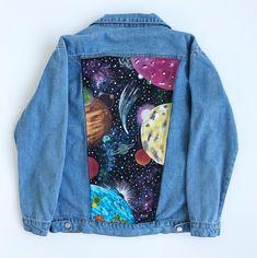 Galaxy Hand painted Jacket : Hand painted denim jean jacket hand made Painted Denim Jacket, Painted Jeans, Painted Clothes, Hand Painted, Jeans Tumblr, Custom Clothes, Diy Clothes, Denim Kunst, Demin Jacket