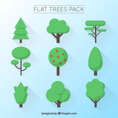 Variety of flat trees Free Vector