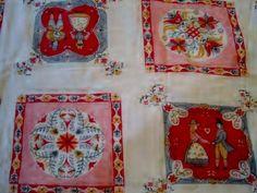 Bright red and pink Pennsylvania Dutch Folk Art Tablecloth.