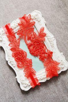Wedding Garter Set Bridal Garter Set - Keepsake Garter Toss Garter Included - Red Garter Lace Garter Prom Garter Rustic Wedding Boho Wedding