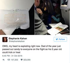 This sweet dad who gave out candy on an airplane so that his little girl wouldn't miss trick-or-treating: | 14 Dads Who Literally Won 2016