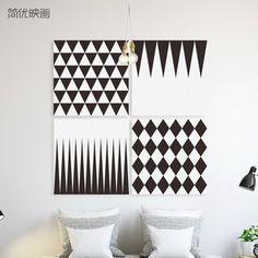简优映画设计师挂画 立体几何壁画 黑白格子 抽象图形 北欧风格