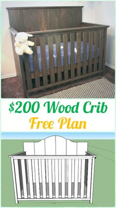 DIY Baby Crib Projects Free Plans & Instructions: Baby Cradles, Baby Cribs, Baby Co-sleepers. Baby Cot Wood Working Furniture Plan and Tutorial Baby Crib Diy, Baby Nursery Diy, Baby Cribs, Baby Room, Nursery Ideas, Ladybug Nursery, Project Nursery, Baby Boy Decorations, Baby Decor
