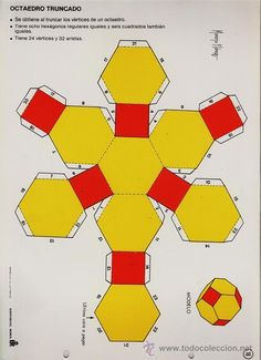 recortable.- figuras geometricas nº 18.- octaedro truncado - ed. roma- año 1983