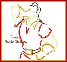 Gaston from Beauty and the Beast Sketch Digital Embroidery Machine Applique Design File 4x4 5x7 6x10 by Thanks4TheAdventure on Etsy