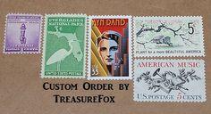 Reserved Custom Order for lindsayvenidis .. Unused Vintage US Postage Stamps by TreasureFox on Etsy