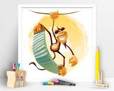 Items similar to Be a little wild Monkey. Children Playroom Decor on Etsy Children Playroom, Art Children, Art Wall Kids, Wall Art, Playroom Decor, Tweety, Monkey, My Etsy Shop, Art Prints