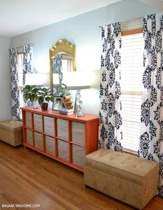 Stencil your curtains with paint! Love this damask pattern: http://www.cuttingedgestencils.com/damask-moroccan-stencil.html #stencils #CuttingEdgeStencils #DIYstenciledcurtains