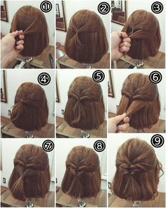 Coiffure pour les cheveux coupés au carré # Braids for short hair updo Hairdos For Short Hair, Pretty Hairstyles, Girl Hairstyles, Easy Hairstyles For Short Hair, Natural Hairstyles, Short Hair Dos, Simple Hairstyles For Medium Hair, School Hairstyles, How To Style Short Hair