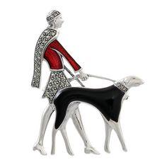 art deco dog pictures | Sterling Silver Elegant Art Deco Dog Walk Brooch : Silver Brooches ...