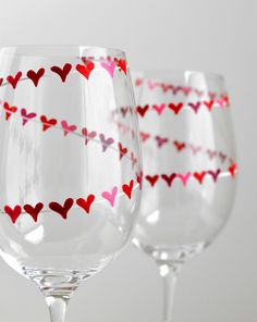 Red and Pink Heart Banner Valentine Wine Glasses. Painted by MaryElizabethArts.com $48/pair